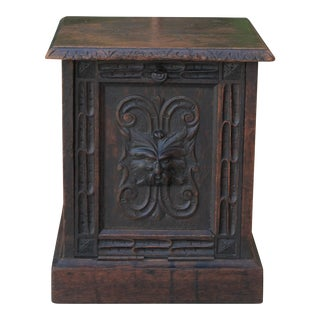 19th Century Antique English Carved Oak Coal Hod Scuttle Hearth Fireplace End Table For Sale