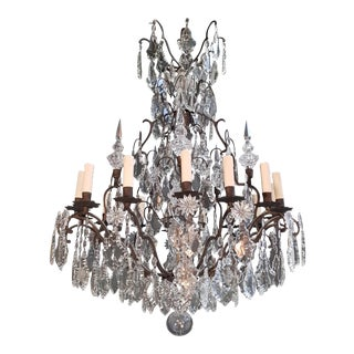 Fine French Crystal Chandelier Antique Ceiling Lamp Lustre Art Nouveau Pendant For Sale