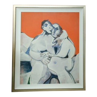 """The Lovers"" Painting by Jean Georges Chape For Sale"