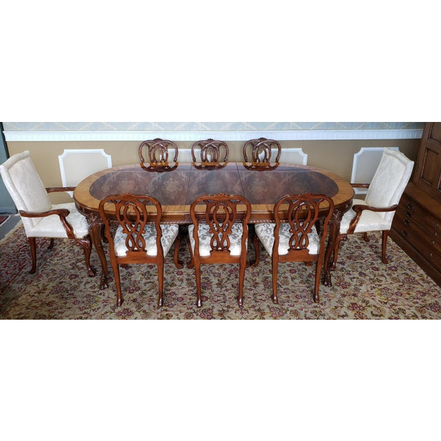 Fabric High Top Tier Karges Furniture Mahogany Chippendale Dining Room Chairs - Set of 8 For Sale - Image 7 of 12