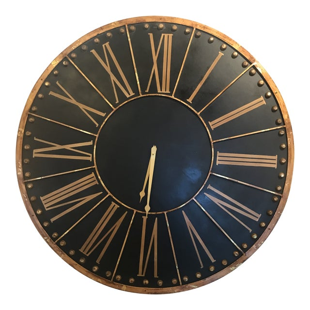 Large Black and Copper Clock For Sale