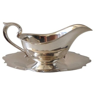 Gorham Silver Gravy Boat W/Attached Underplate For Sale