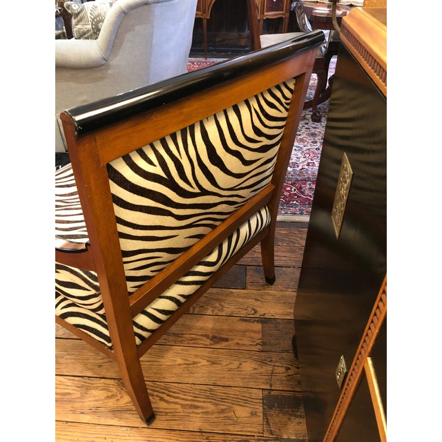 1980s 1980s Vintage Printed Zebra Cowhide Upholstery Chair For Sale - Image 5 of 9