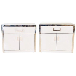 Pair of John Stuart Mid-Century Modern White and Chrome Decorated Nightstands