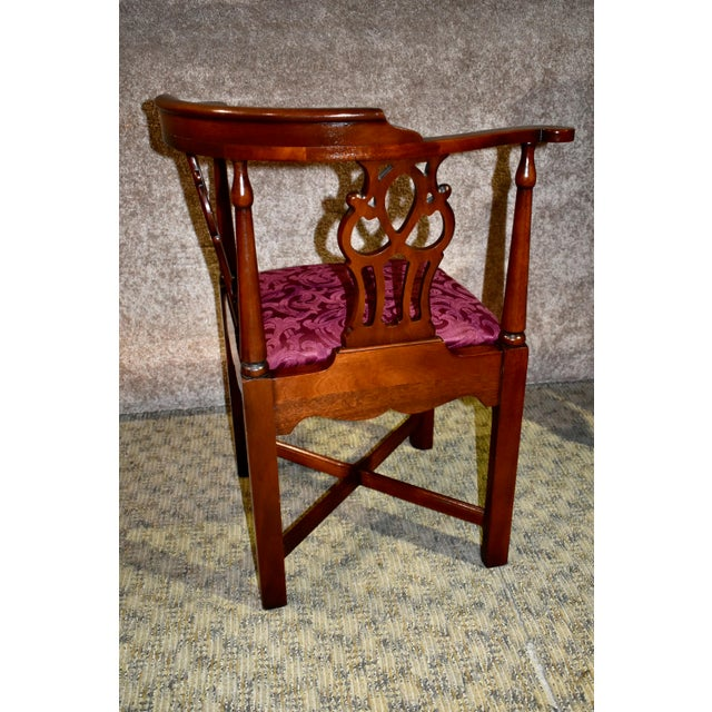 Brown Vintage Chippendale Hickory Chair Solid Mahogany Style Corner Chair For Sale - Image 8 of 13