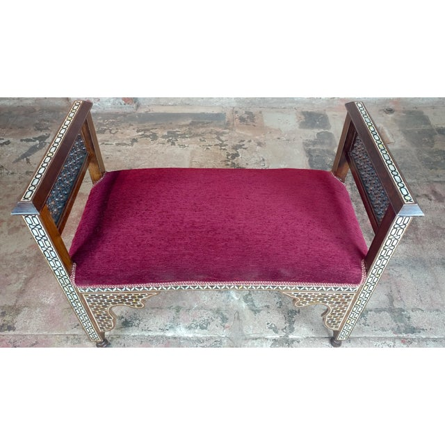 Red Fabulous Syrian Bench Mother of Pearl Inlaid W/Burgundy Upholstery For Sale - Image 8 of 10