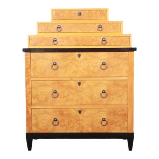 Baker Furniture Biedermeier Burl Wood and Primavera Highboy Chest of Drawers For Sale