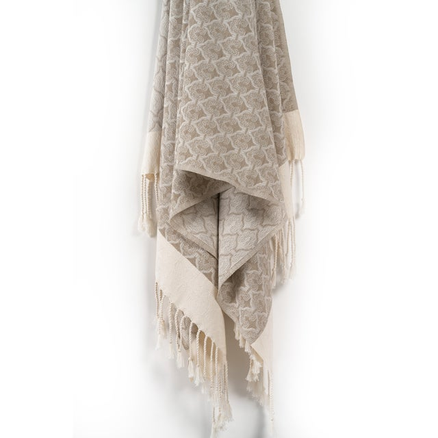 Mute Eloquence Handmade Organic Cotton Towel in Beige For Sale - Image 4 of 8