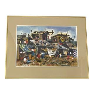 "Lewis Suzuki ""Squatters in Manila"" Original Watercolor C.1960 For Sale"
