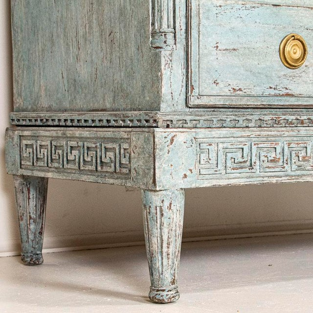 Large Antique Blue Painted Chest of Drawers From Sweden For Sale - Image 9 of 13