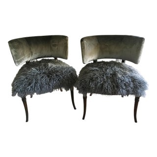 Mid-Century Grosfeld House Velvet and Mongolian Yak Chairs - a Pair