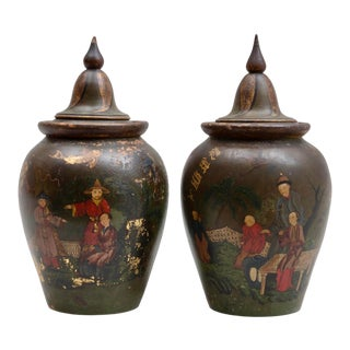 Chinoiserie Polychrome Painted Terracotta Jars - a Pair For Sale
