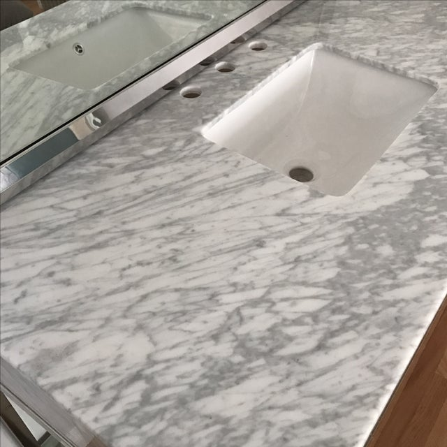 White Mid-Century Modern Marble Bathroom Vanity with Chrome Mirror For Sale - Image 8 of 9