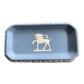 1960s Wedgwood Jasperware Blue and White Unicorn Tray For Sale