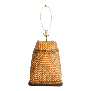 Mainly Basket Woven Rattan Table Lamp For Sale