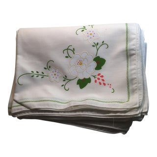 Vintage Floral Napkins - Set of 12 For Sale