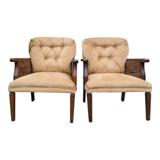 Mid-Century Modern North Carolina Walnut Wood Cane Arm Chairs - a Pair For Sale