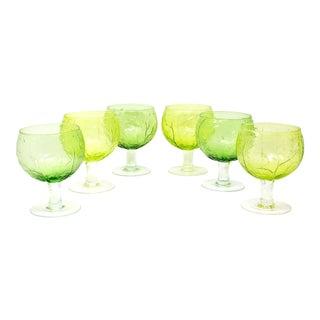 Vintage Secla Green Glass Cabbage Stemware Glasses - Set of 6 For Sale