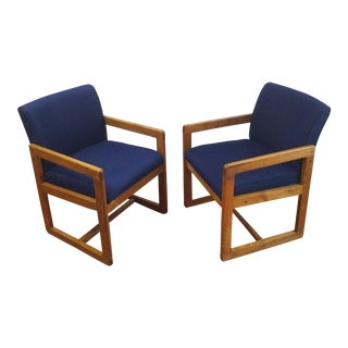 1970s Mid-Century Modern Navy Blue Framed Cube Lounge Chairs - A Pair For Sale