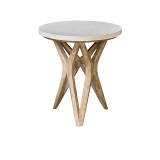 Limestone Top X Base Table For Sale