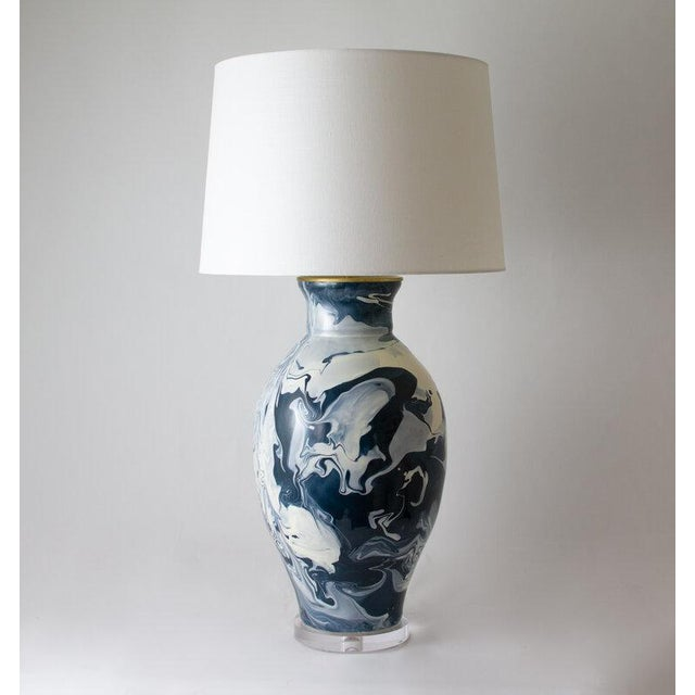"Contemporary Paul Schneider Ceramic ""Matagorda"" Lamp in Geode Ivory Glaze For Sale - Image 3 of 3"