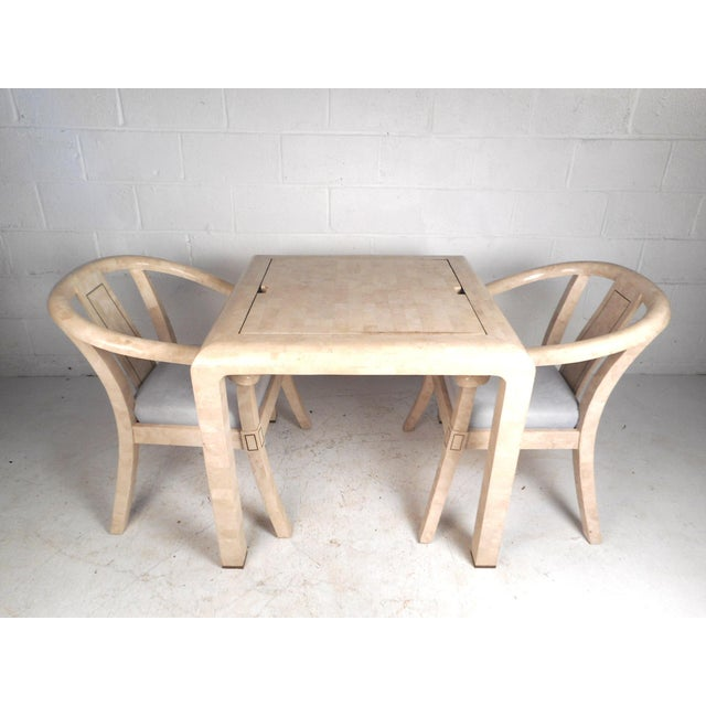 Mid-Century Modern Mid-Century Maitland Smith Tessellated Stone Game Table With Two Chairs For Sale - Image 3 of 13