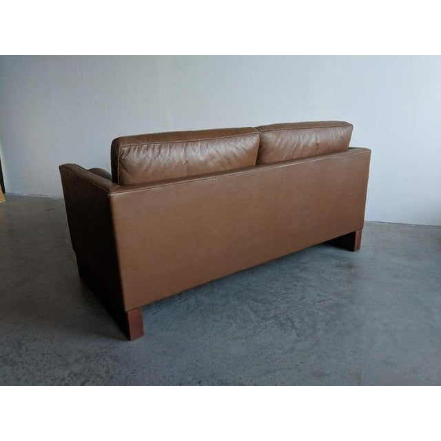 Ludwig Mies van der Rohe Mies Van Der Rohe Brown Leather Settee for Knoll International For Sale - Image 4 of 11
