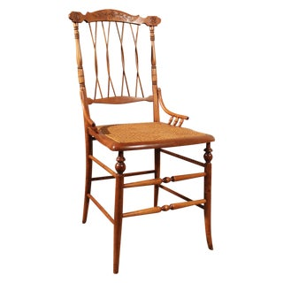 Antique Carved Chair With Caned Seat For Sale