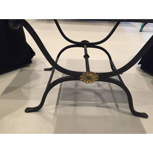 Art Deco French Art Deco Wrought Iron and Portoro Marble Table For Sale - Image 3 of 4