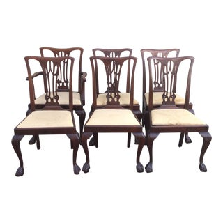 1920s Vintage Chippendale Style Mahogany Ball and Claw Foot Dining Chairs- Set of 6 For Sale