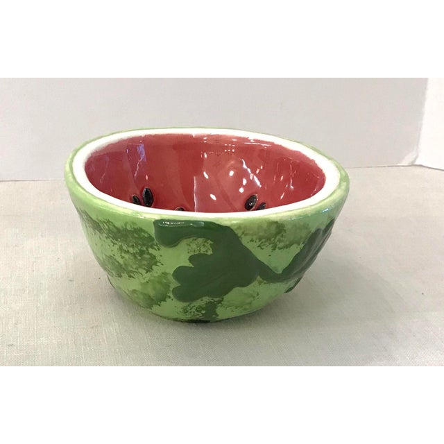 Contemporary Small Watermelon Shaped Figural Snack Bowl For Sale - Image 3 of 9