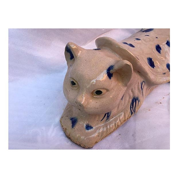 Chinese Blue & White Spotted Cat Opium Pillow - Image 6 of 6
