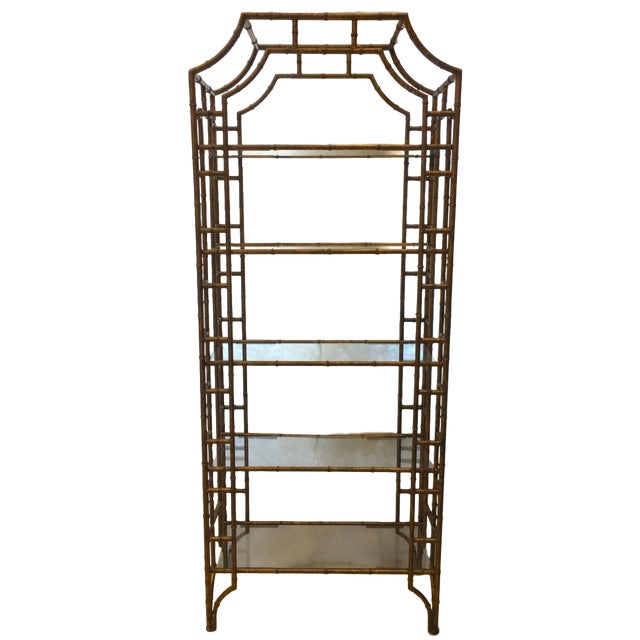 Mid-Century Modern Brass Faux Bamboo Etagere For Sale - Image 10 of 10
