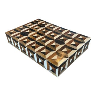 Small Triangle Marquetry Box For Sale