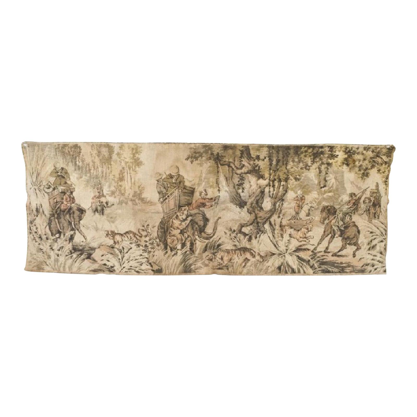 Antique French Hunt Tapestry Vintage Dutch Belgian