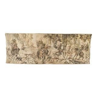 Antique French Hunt Tapestry Vintage Dutch' Belgian' Flemish Colonial Safari Tapestry For Sale