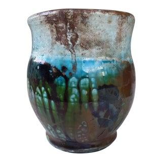 Vintage Iridescent Glazed Clay Vase
