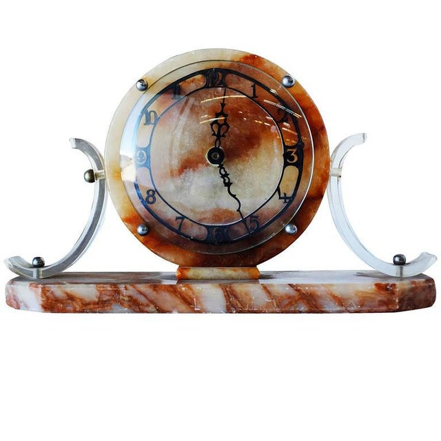 Mid-Century Modern Mid-Century Acrylic and Marble Modernist Mantel Clock For Sale - Image 3 of 5
