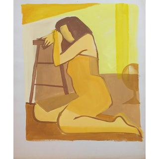 Circa 1940-50s Jerry & Ruth Opper Bay Area Figurative Gouache Painting