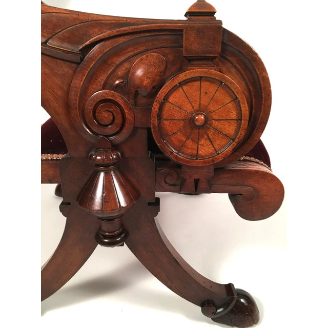 Two Renaissance Revival Chairs and a Foot Stool For Sale In Boston - Image 6 of 11