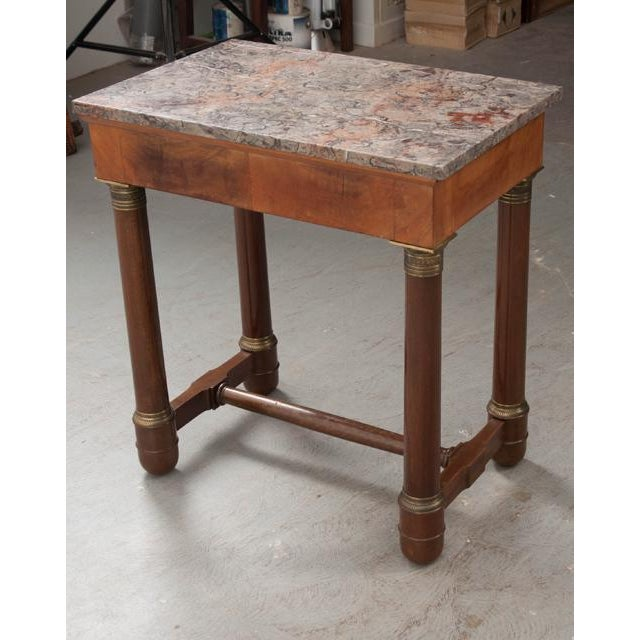 Early 20th Century French Empire Mahogany Marble Top Table For Sale - Image 12 of 13