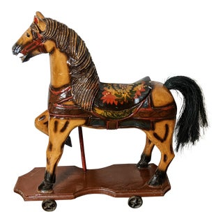 1920s Antique Wooden Carousel Horse on Metal Wheels For Sale