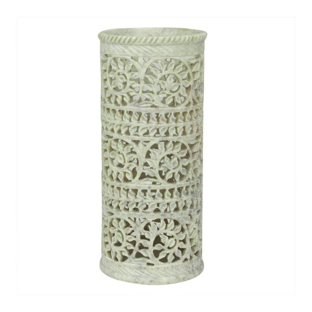 Soft Green Pierced Marble Vase - Image 3 of 4