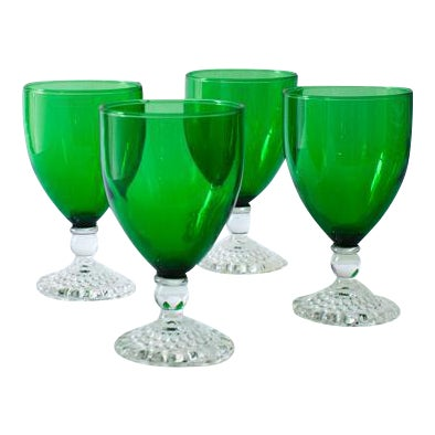 Emerald Wine Goblets - Set of 4 For Sale
