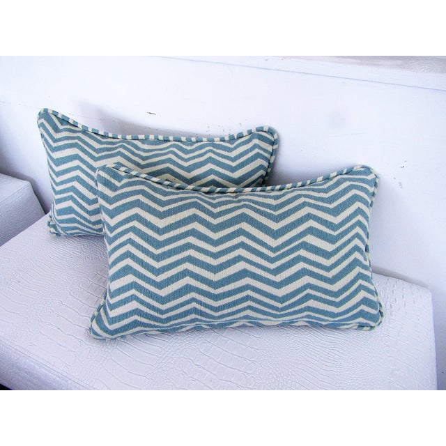 Contemporary Custom Teal & White Chevron Lumbar Pillows - A Pair For Sale - Image 3 of 3