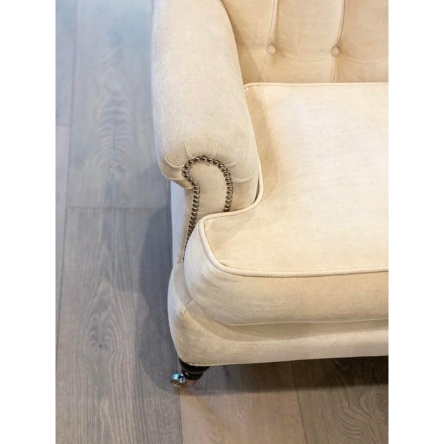 Grace Home Furnishings Beige Velvet NailHead Contemporary Sofa For Sale - Image 9 of 13