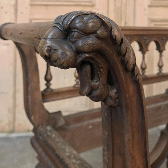Wood 19th Century Italian Renaissance Walnut Armbench For Sale - Image 7 of 12