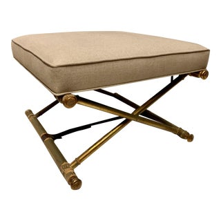 Campaign Style Giltwood Ottoman in Linen For Sale