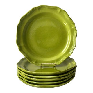 """6 Chartreuse Italian 11""""Charger/ Dinner Plates-Baldelli For Sale"""