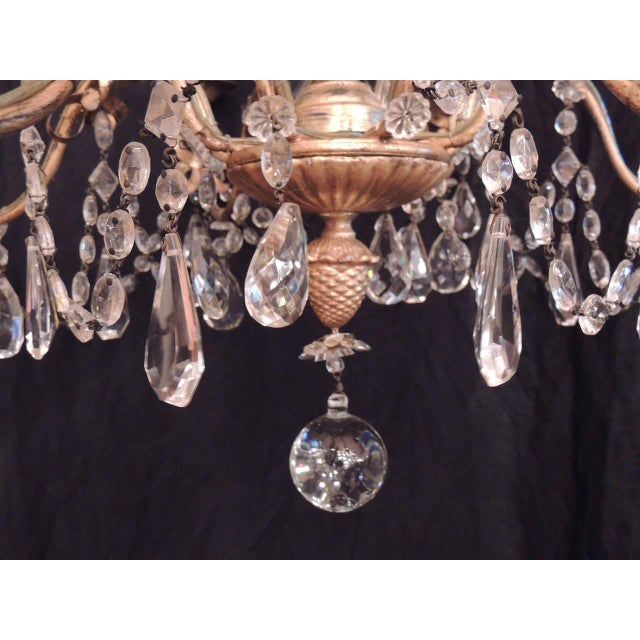 20th C French Grand Bagues Tole and Crystal Chandelier For Sale - Image 10 of 10